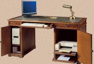 mesa auxiliar despacho en casa de estilo clsico tapa fajeada y tapizada tiradores acorde con el extraible